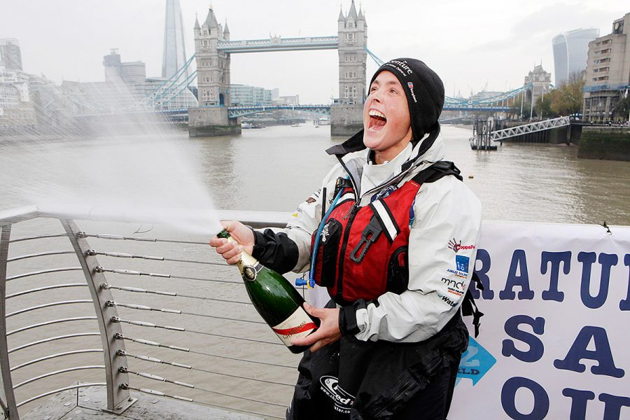 Images from the beginning and end Sarah Outen's epic four-year London2London expedition.